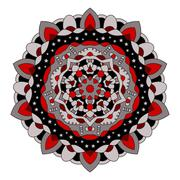 Symmetrical circular pattern of colored mandala, round Stock Illustration