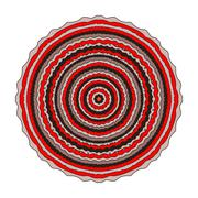Circular symmetric pattern in red and black. The mandala in the - stock illustration