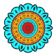 Eastern colored circular pattern mandala. - stock illustration