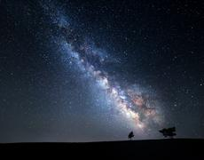 Milky Way. Beautiful summer night sky with stars in Crimea - stock photo