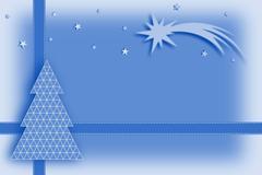 Christmas card - blue, ribbon, comet - stock illustration