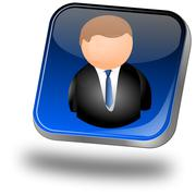 Button with user icon - stock photo