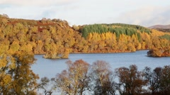 Autumn colour at Loch Ness, Scotland Stock Footage