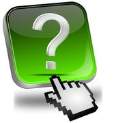 Button with question mark with cursor - stock photo
