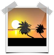 Instant Photo frame with beach image Kuvituskuvat