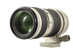 Zoom camera lens, isolated on white background - stock photo