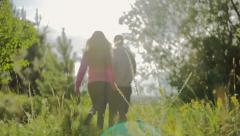 Couple walking holding hands in a park - Romantic date outdoors Stock Footage