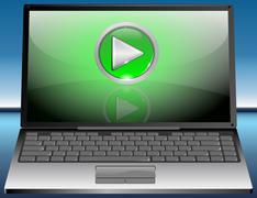 Laptop with Play Button Stock Photos