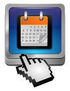 Calendar button with Cursor - stock photo