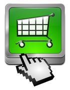 Shopping Button with cursor Stock Photos