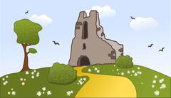 Old castle ruins on a hill - stock illustration