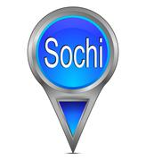 Map pointer with Sochi, Russia Stock Photos