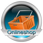 Button online shop with shopping basket Stock Photos
