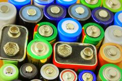 Collection of different batteries Stock Photos