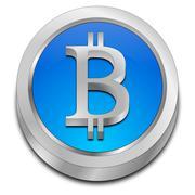 Bitcoin Button - stock photo
