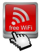 free wireless WiFi Wlan button with cursor - stock photo