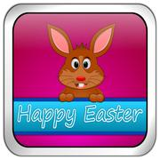 Easter bunny wishing happy easter button - stock photo
