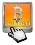 Bitcoin accepted here button with cursor Stock Photos