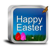 happy easter button with easter eggs - stock photo