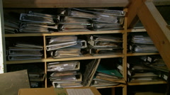 Folders with documents in attic Stock Footage