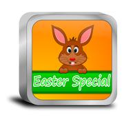 Button Easter Special with easter bunny - stock photo