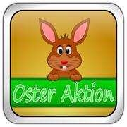 Button Oster Aktion with easter bunny in german - stock photo