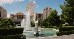 Steadicam Las Vegas Caesars Palace. Fountain. - stock footage