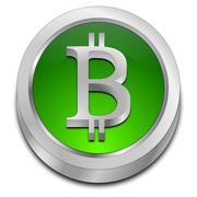 Bitcoin accepted here button Stock Photos