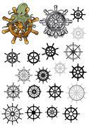 Heraldic nautical isolated helms set - stock illustration