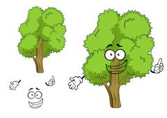 Cartoon deciduous green tree character - stock illustration