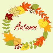 Colorful autumnal leaves frame or wreath Stock Illustration