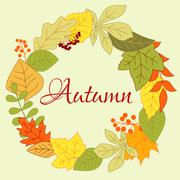 Autumnal leaves foliage round frame with berries and seeds Stock Illustration