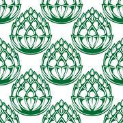 Green hop blooms seamless pattern - stock illustration