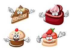 Sweet chocolate, biscuit and fruity cakes - stock illustration