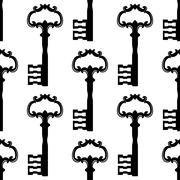 Vintage black keys seamless pattern Stock Illustration