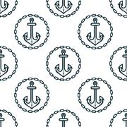 Ship anchors with chain border spattern Stock Illustration