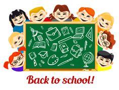 Children behind chalkboard with school supplies Stock Illustration