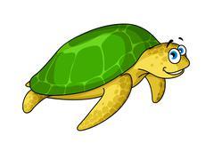 Swimming cartoon green turtle animal Stock Illustration
