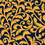 Yellow floral seamless pattern in baroque style Stock Illustration