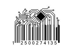 Bar code with computer chip - stock illustration