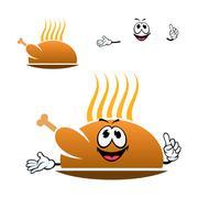 Cartoon roasted chicken leg on dish - stock illustration