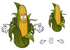 Cartoon sweet corn or maize vegetable - stock illustration