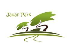 Bonsai garden symbol with pines Stock Illustration