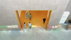 People visiting museum seen from above Stock Footage