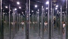 The mirror maze, the children play in the mirror. Stock Footage
