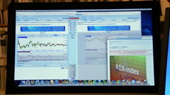 Computerscreen with AEX index Stock Footage