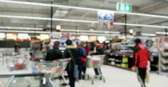 End of the checkout queue supermarket trolley Stock Footage