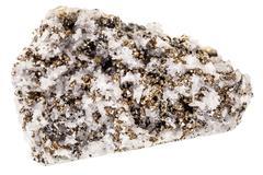 Pyrite on quartz matrix - stock photo
