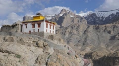 People climbing footpath to Mulbekh Gompa,Mulbekh,Ladakh,India Stock Footage