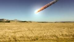 Stock Video Footage of Meteor (asteroid) crashes and explodes behind mountain past field - In 4k